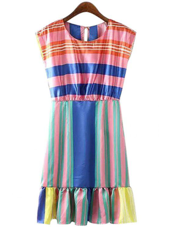 womens Colorful Stripe Spliced Sleeveless Dress - COLORMIX XS
