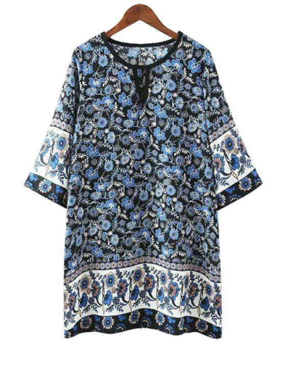 online Jewel Neck Blue Floral Print 3/4 Sleeve Dress - BLUE S