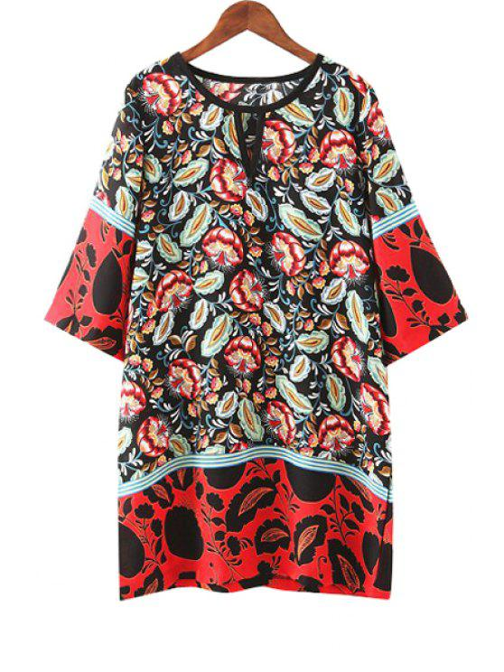 outfits Color Block Red Floral Print 3/4 Sleeve Dress - RED S