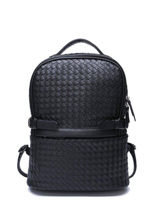 womens Weaving Pattern Belts Zipper Satchel - BLACK