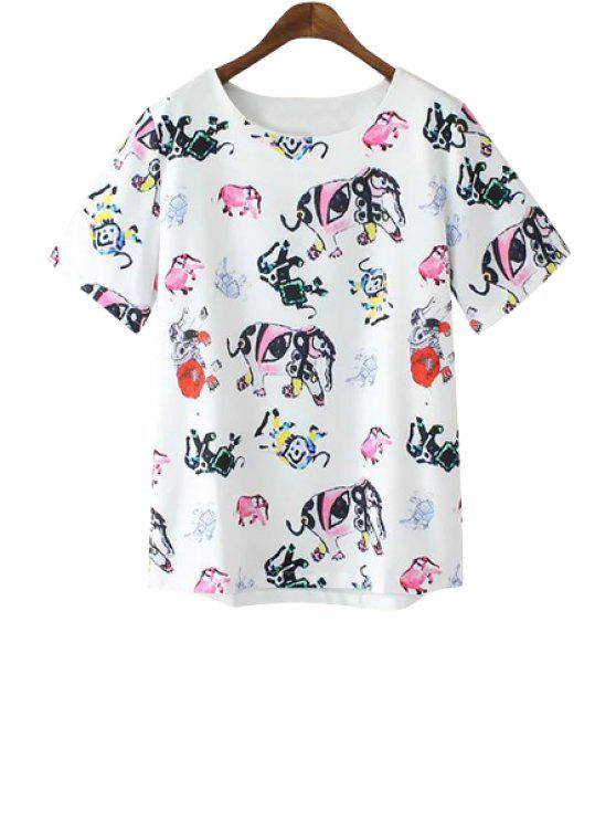 unique Jewel Neck Colorful Elephant Print Short Sleeve T-Shirt - AS THE PICTURE S