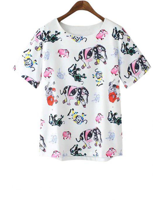 unique Jewel Neck Colorful Elephant Print Short Sleeve T-Shirt - AS THE PICTURE S