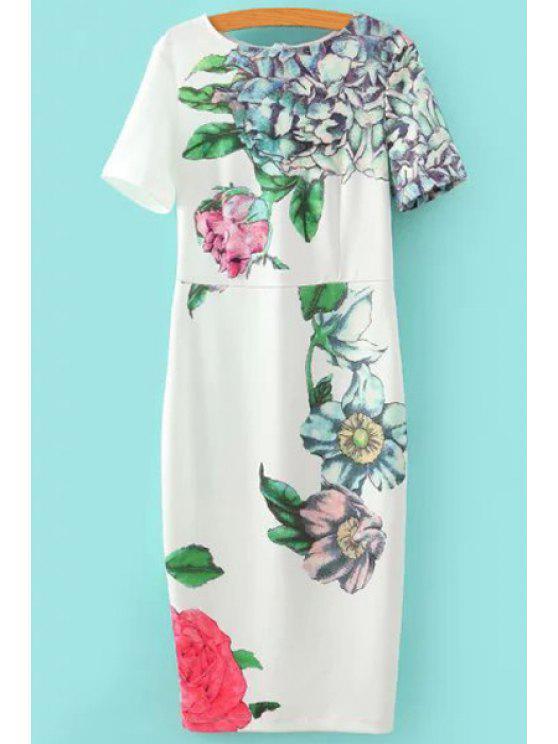 hot Flowers Print Short Sleeve Slimming Dress - WHITE S