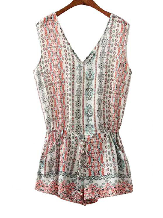affordable Geometric Print Tie-Up Sleeveless Romper - AS THE PICTURE M