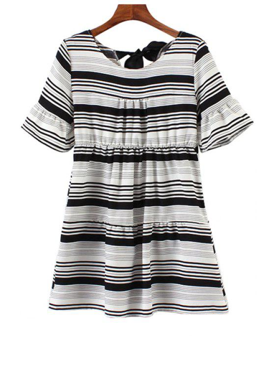 lady Colorful Striped Short Sleeve Dress - BLACK ONE SIZE(FIT SIZE XS TO M)