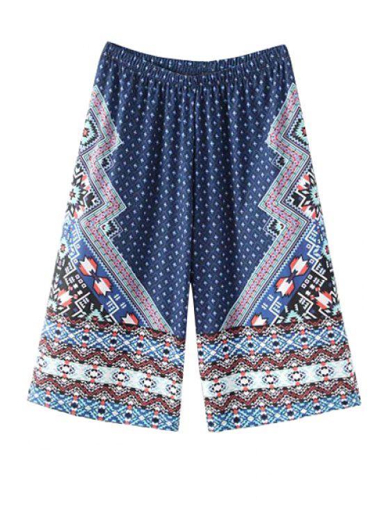 womens Plaid Geometric Print Color Block Capri Pants - BLUE ONE SIZE(FIT SIZE XS TO M)
