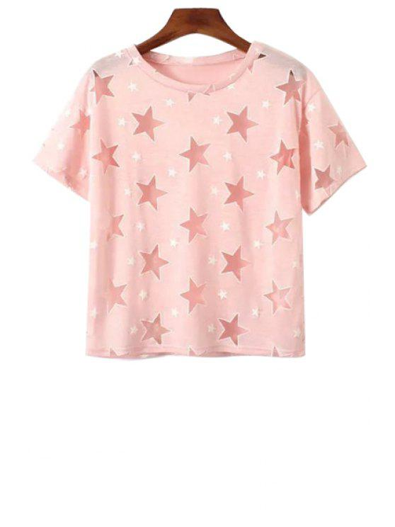 buy Full Star Pattern Short Sleeve T-Shirt - PINK ONE SIZE(FIT SIZE XS TO M)