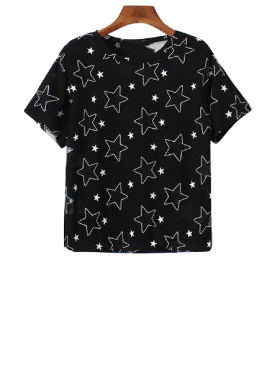 affordable Full Star Pattern Short Sleeve T-Shirt - BLACK ONE SIZE(FIT SIZE XS TO M)