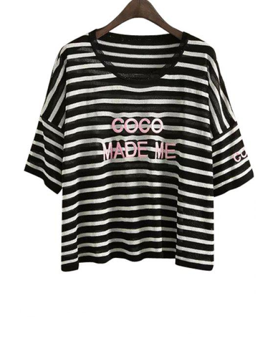 hot Stripe Letter Embroidery Half Sleeve Sweater - BLACK ONE SIZE(FIT SIZE XS TO M)