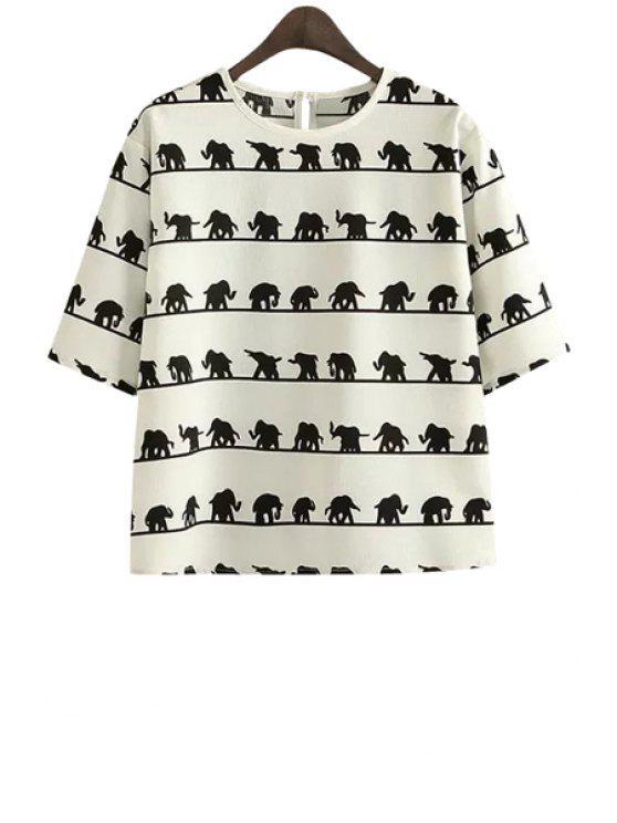buy Jewel Neck Elephant Print Half Sleeve T-Shirt - BLACK S