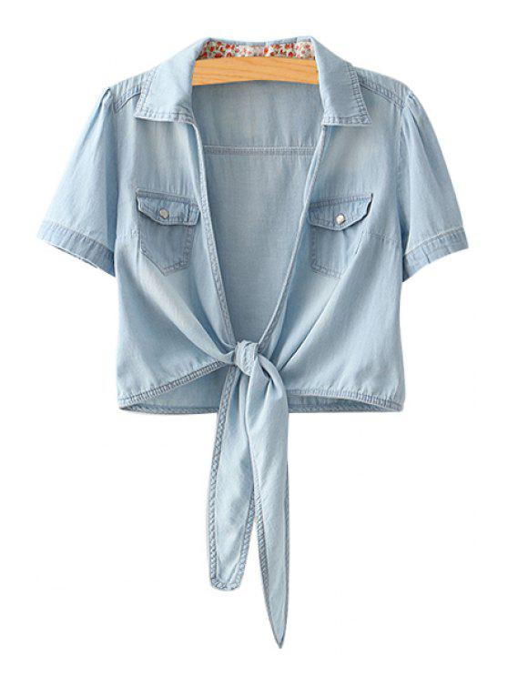 fashion Bleach Wash Tie Knot Short Sleeve Shirt - LIGHT BLUE M
