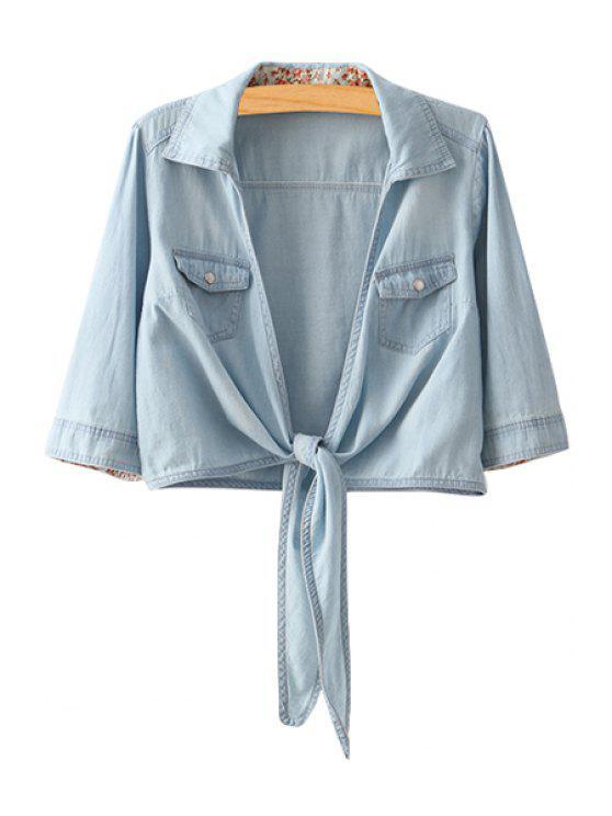 sale Bleach Wash Tie Knot Long Sleeve Shirt - LIGHT BLUE M