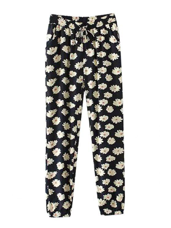 online Straight Leg Floral Print Pants - AS THE PICTURE S