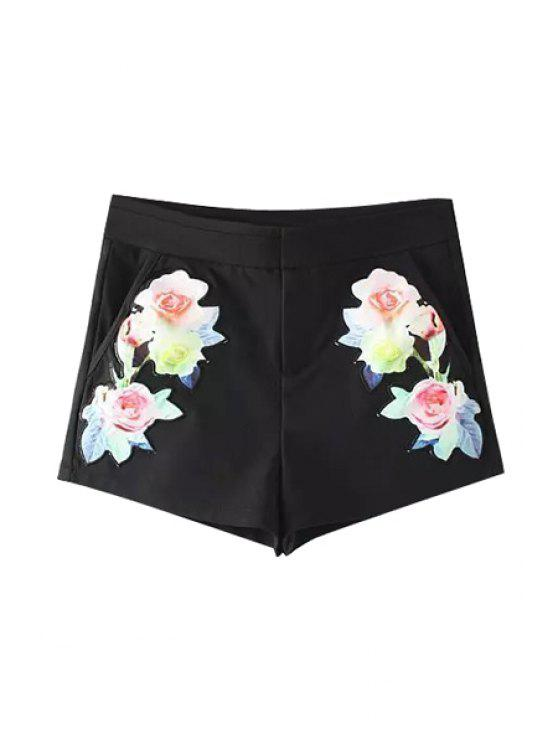 latest Floral Embroidery Straight Leg Shorts - BLACK S