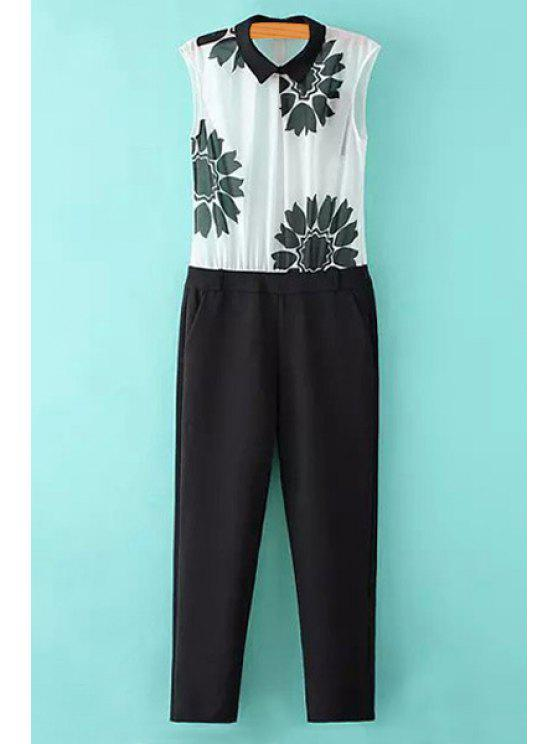 buy Sleeveless Floral Print Spliced Jumpsuit - WHITE AND BLACK S