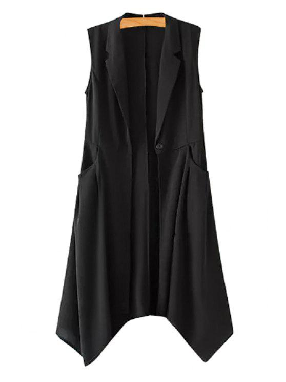 outfits Lapel Solid Color Asymmetrical Sleeveless Waistcoat - AS THE PICTURE S