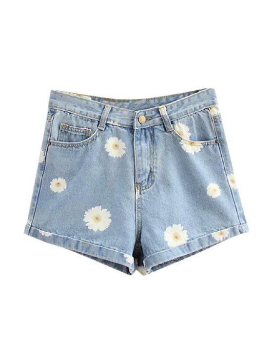 buy Flower Print Denim Shorts - LIGHT BLUE S