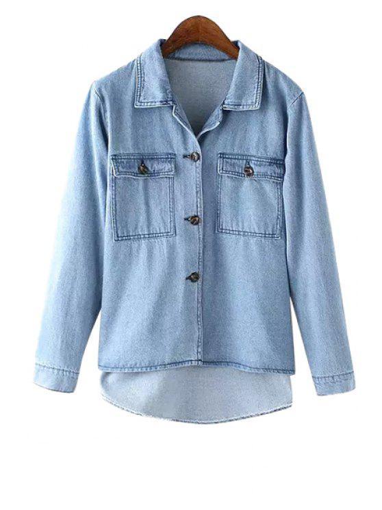 women Bleach Wash Pocket High Low Denim Shirt - BLUE S