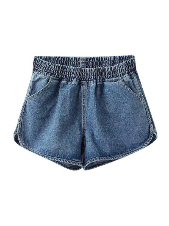 ladies Solid Color Denim Shorts - LIGHT BLUE M
