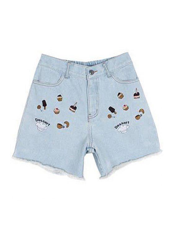 chic Bleach Wash Cake Embroidery Denim Shorts - LIGHT BLUE S