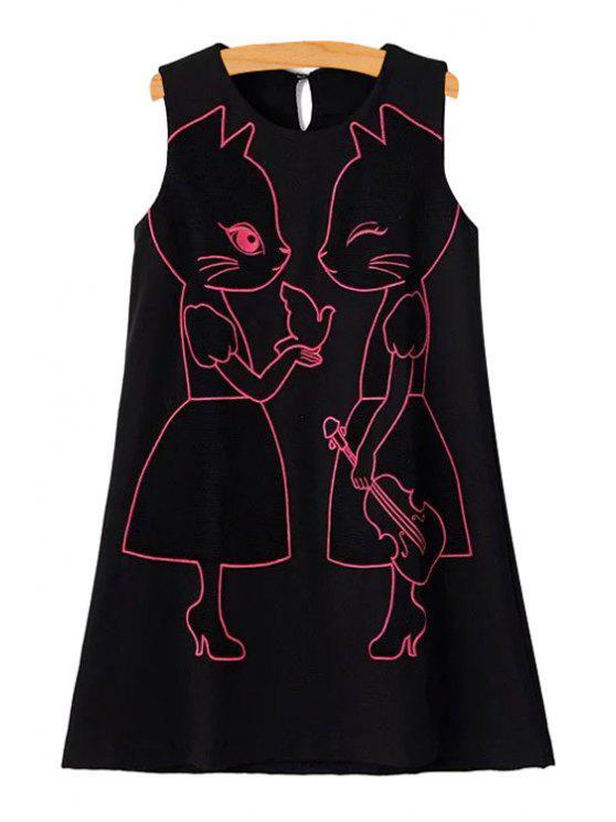 chic Cartoon Embroidery Jewel Neck Sundress - BLACK S