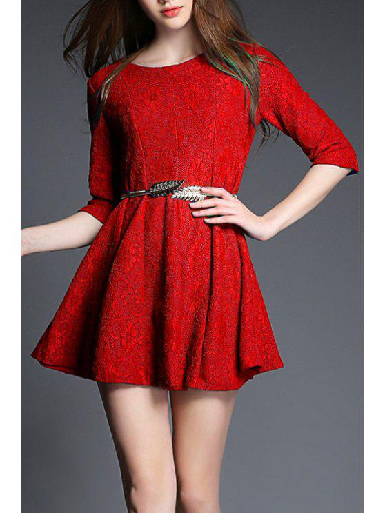 best Solid Color Floral Lace 3/4 Sleeve Dress - RED S