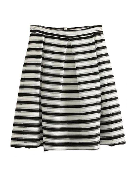women's Striped A Line Midi Skirt - STRIPE S