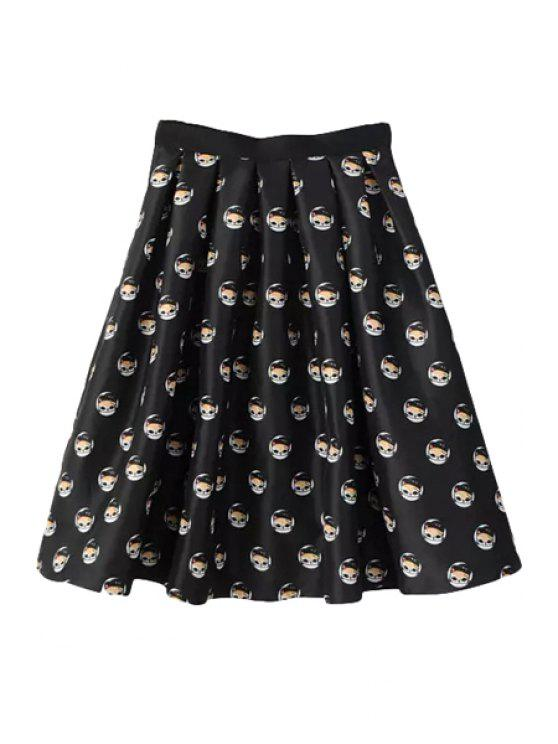 outfit Full Kitten Print A Line Midi Skirt - BLACK S