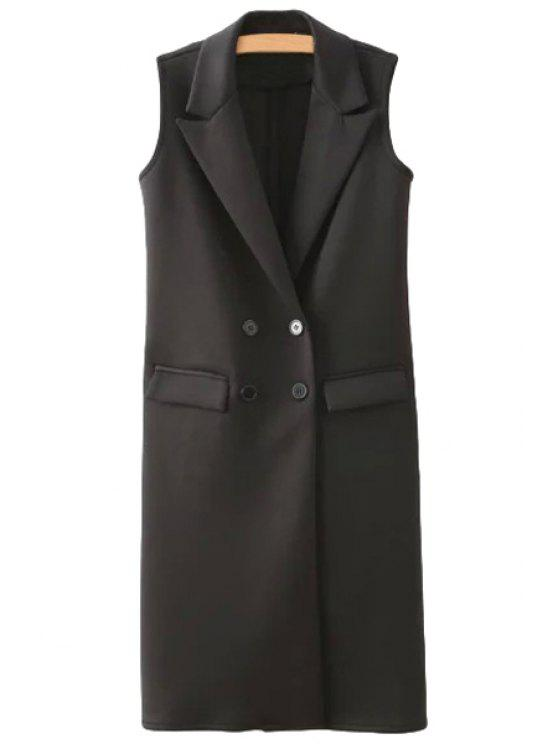 new Black Lapel Double-Breasted Waistcoat - BLACK S