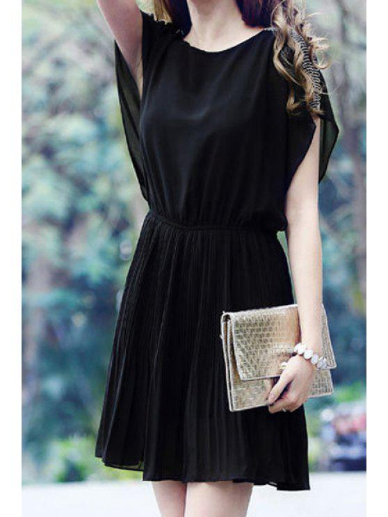 fancy Solid Color Bead Embellished Short Sleeve Dress - BLACK S
