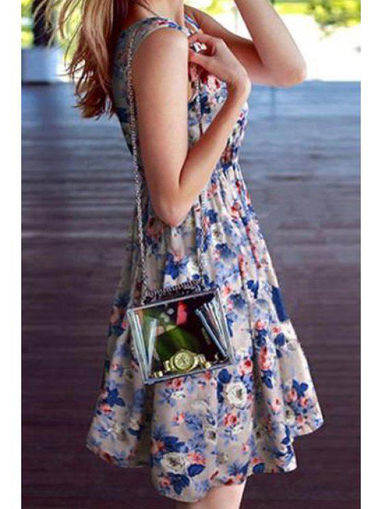 new Scoop Neck Floral Print Ruffle Sleeveless Dress - COLORMIX S