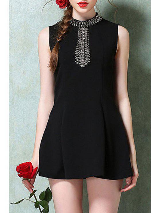 new Round Neck Bead Embellished Sleeveless Dress - BLACK S