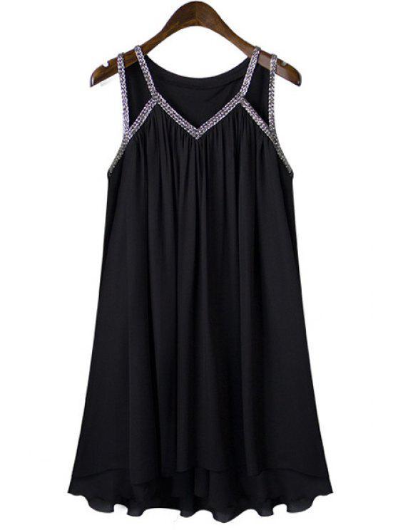 affordable V-Neck Sleeveless Pleated Black Chiffon Dress - BLACK S