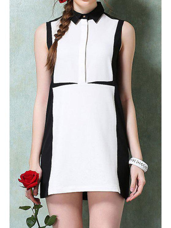 affordable Turn-Down Collar White Black Splicing Dress - WHITE AND BLACK S