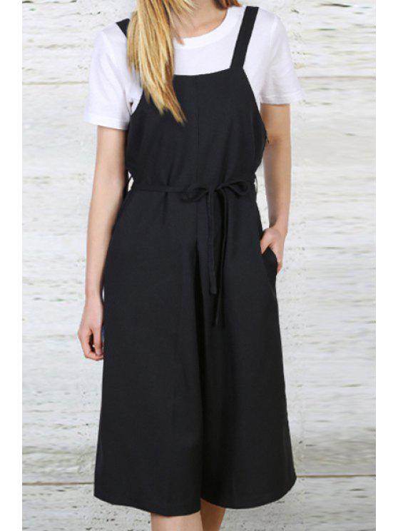 sale Solid Color Tie-Up Overalls - BLACK S