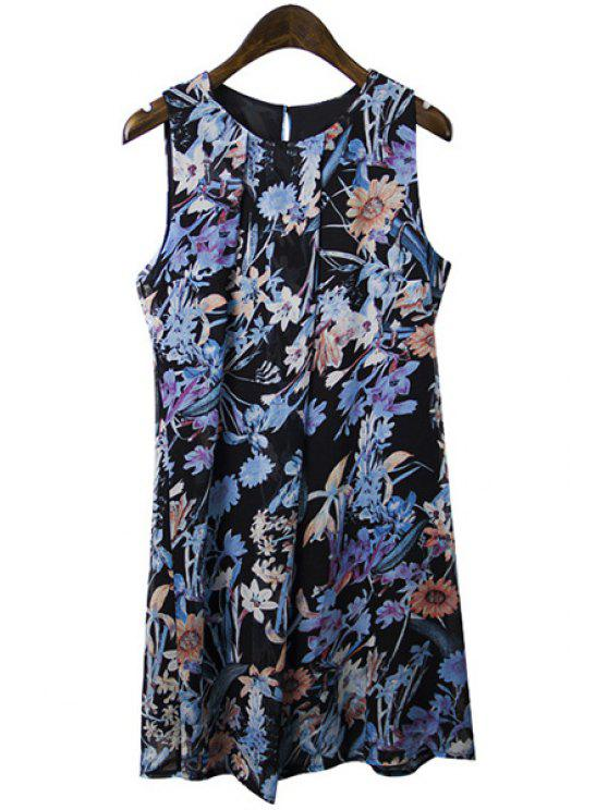 best Sleeveless Floral Print Ruffled Chiffon Dress - BLACK M