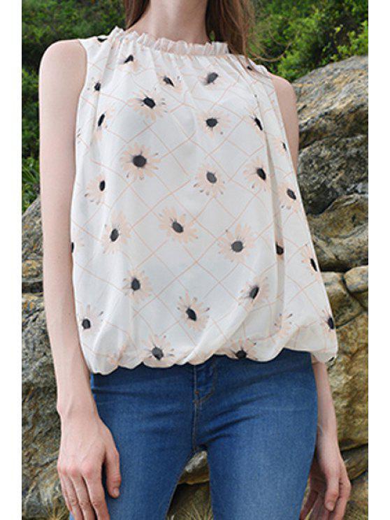 buy Sleeveless Plaid Flower Print Chiffon Tank Top - WHITE S