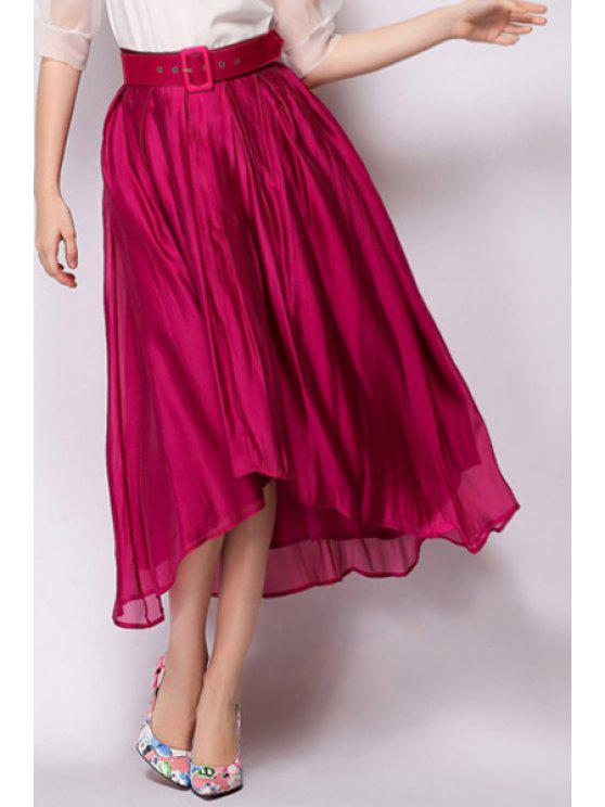 affordable Solid Color Asymmetrical Belt Midi Skirt - WINE RED M