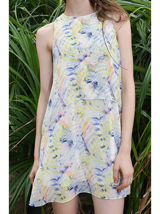 lady Sleeveless Floral Print Chiffon Dress - COLORMIX S