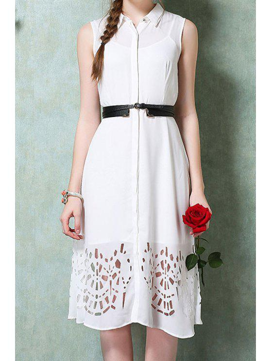 affordable Solid Color Openwork Belt Dress + Tank Top - WHITE S