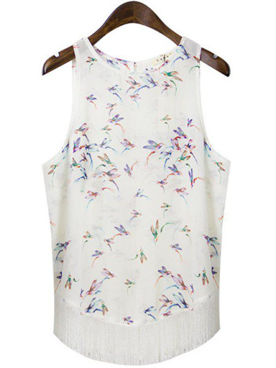 hot Sleeveless Bird Print Tassel Spliced Chiffon Tank Top - OFF-WHITE S