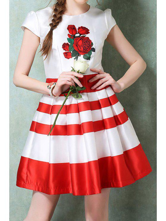 shops Red Floral Print Stripe Ruffle Short Sleeve Dress - RED WITH WHITE S