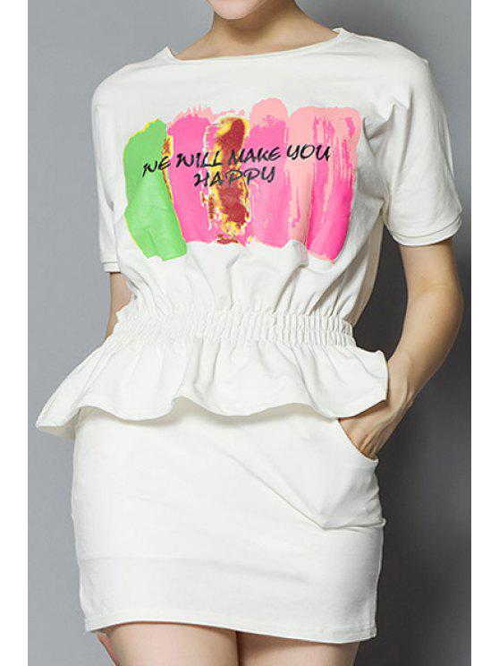 best Color Block Letter Print T-Shirt + Solid Color Skirt - WHITE S