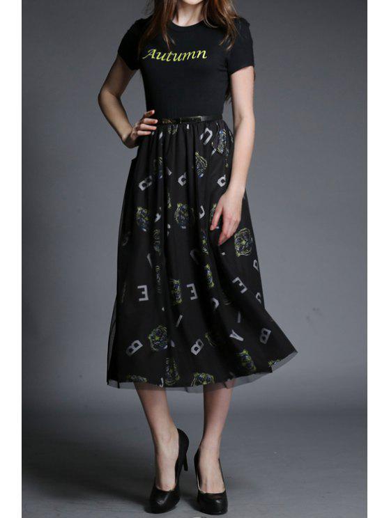 online Letter Print Voile Splicing Belt Dress - BLACK S
