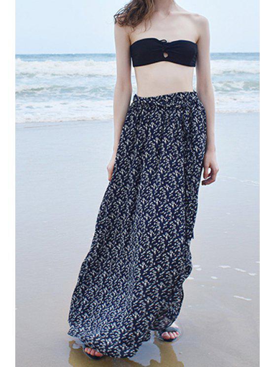 sale Chiffon Full Floral Print Maxi Skirt - PURPLISH BLUE ONE SIZE(FIT SIZE XS TO M)