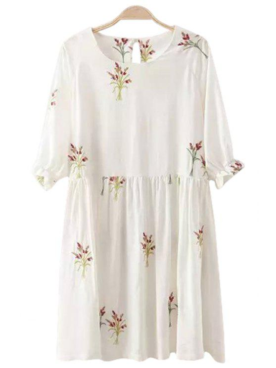 new Flower Embroidery Half Sleeve Dress - WHITE S