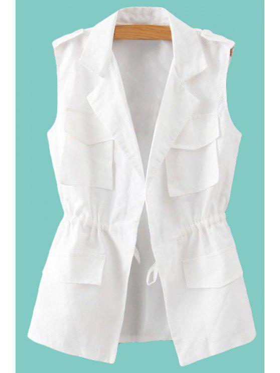 womens Lapel Neck Solid Color Waistcoat - WHITE S