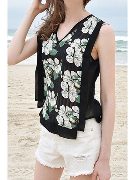 unique V-Neck Floral Print Irregular Hem Fringe Chiffon Tank Top - BLACK L