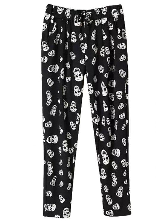 women's Skull Print Elastic Waisted Pants - BLACK XL