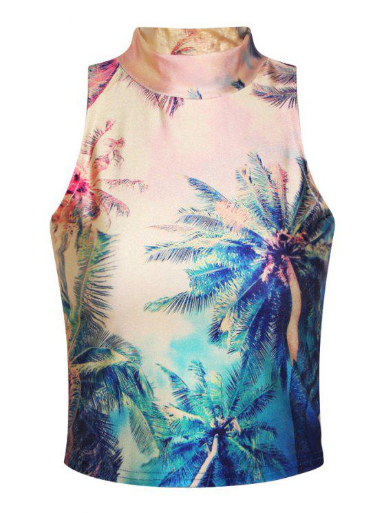 outfits Stand-Up Collar Coconut Tree Print Tank Top - COLORMIX ONE SIZE(FIT SIZE XS TO M)